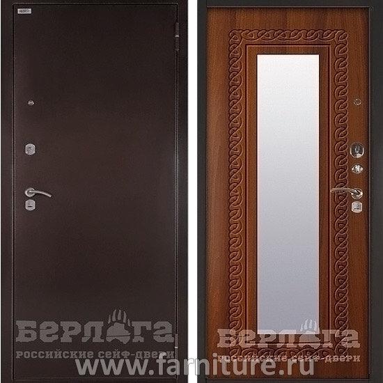 входная металлическая сейф дверь берлога оптима с зеркалом викинг дуб рустикальный
