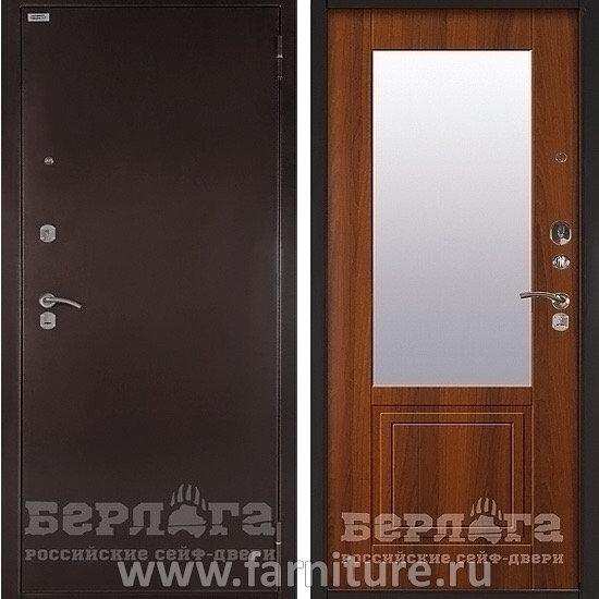 входная металлическая сейф дверь с зеркалом берлога оптима гала дуб рустикальный